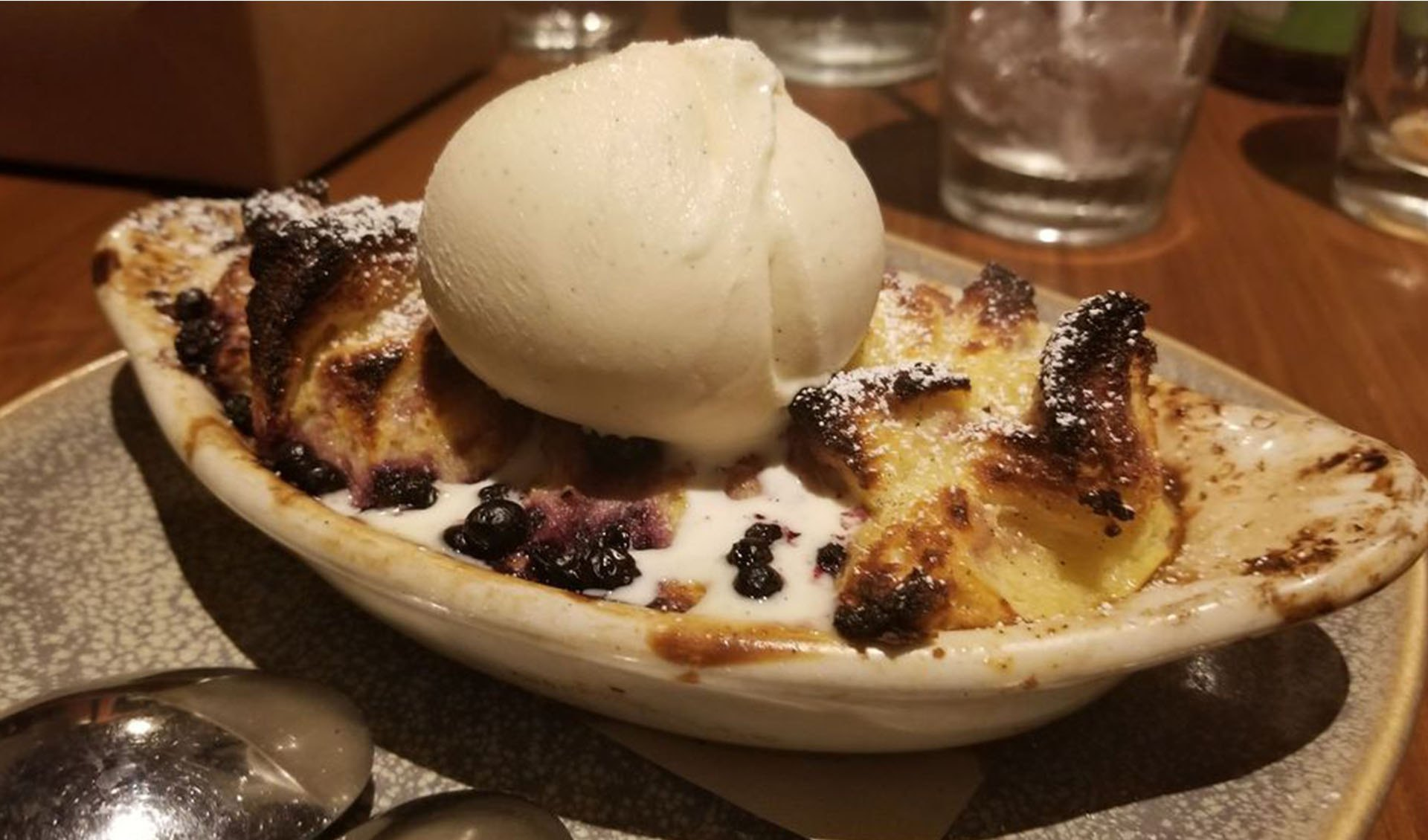 bread pudding and vanilla bean ice cream