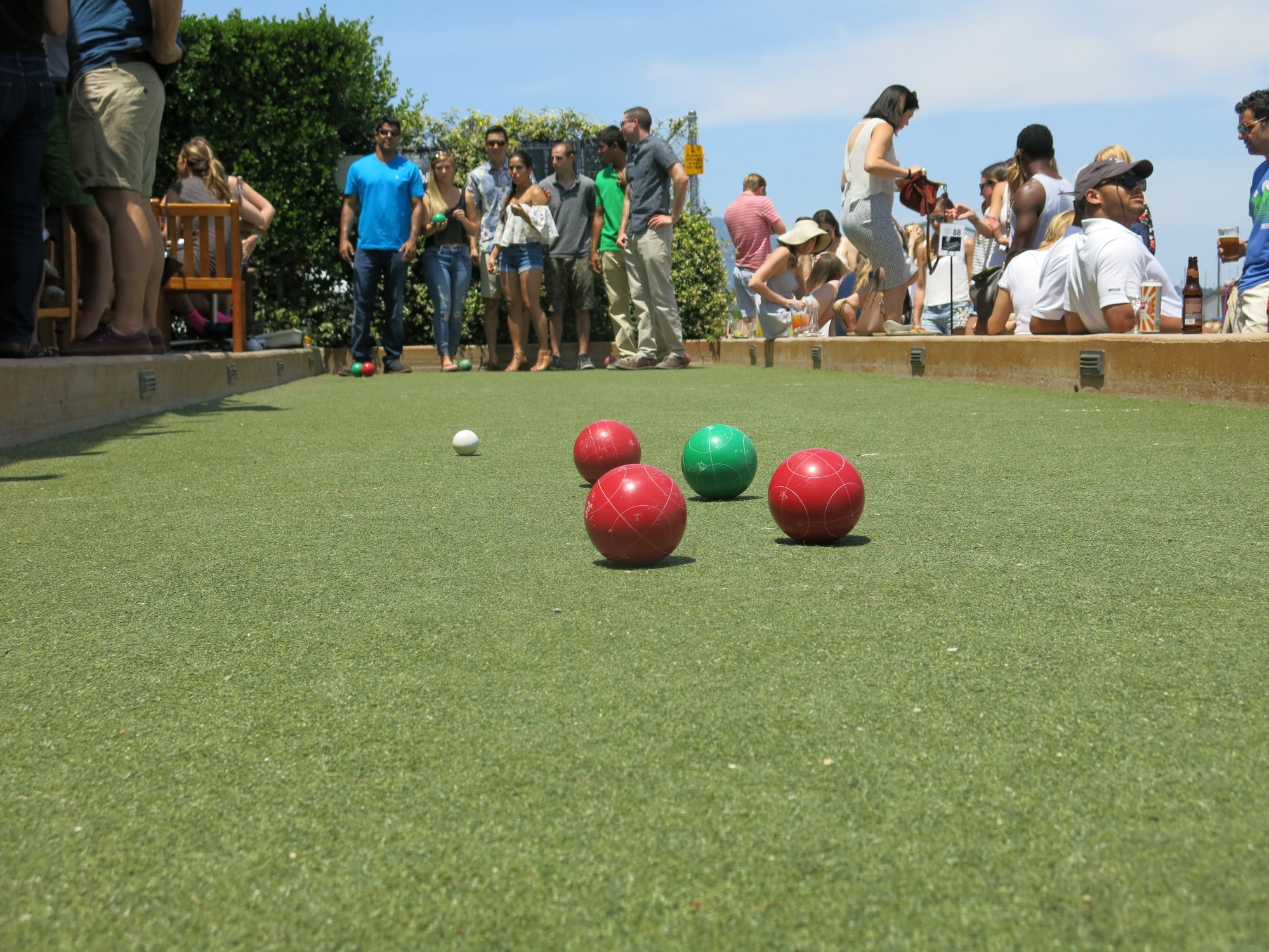 bocce court on a gorgeous day at Bar Bocce